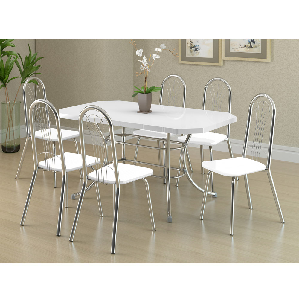Mesa de Copa com 6 Cadeiras, Branco, Línea II