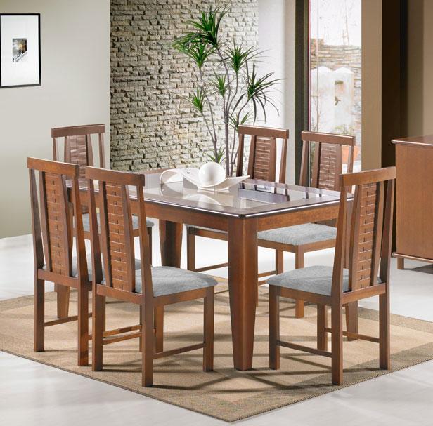 Sala de Jantar Indiana, 6 Cadeiras, Castanho Claro