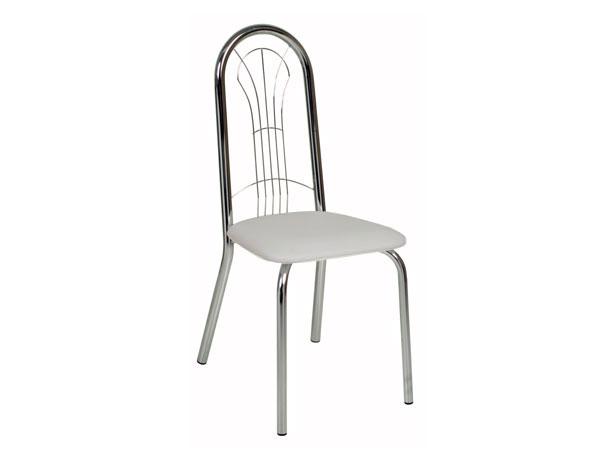 Cadeira de Copa Cromada com Assento Branco, Línea