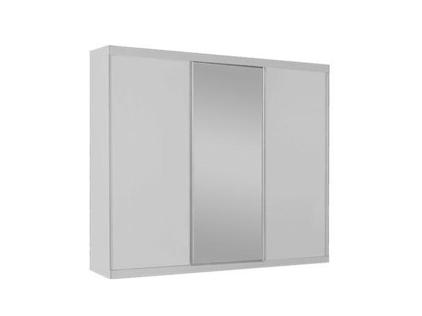 Armário 3 Portas de Correr e Central com Espelho, Branco Fosco, Premier