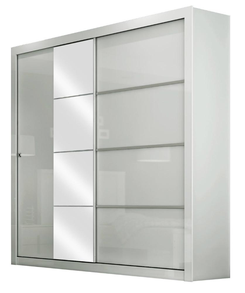 Guarda-Roupa 2 Portas de Correr com Espelho, Branco Brilhoso, Prime II