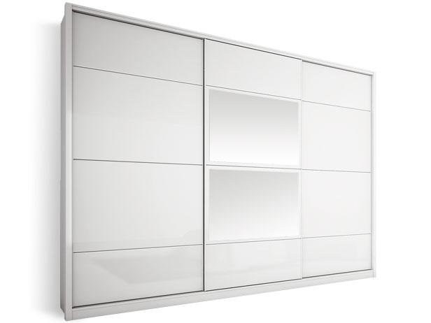Armário 3 Portas de Correr com Espelho Central, Branco, Foster