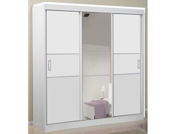 Guarda-Roupa 3 Portas de Correr com Espelho Central, Branco Fosco, Limiti