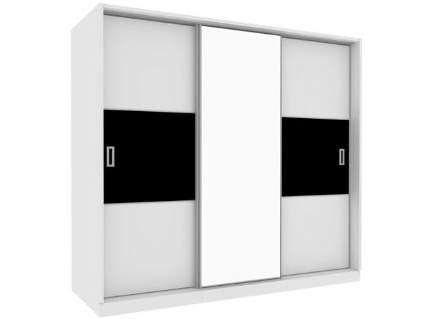 Armário 3 Portas de Correr com Espelho Central, Branco e Preto, Charme