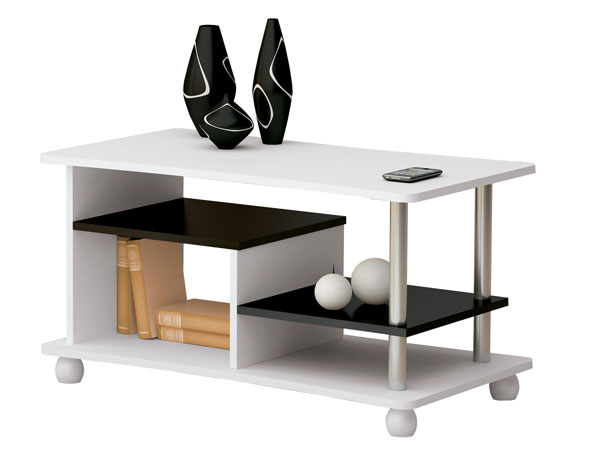 Mesa de Centro, Branco com Preto, Alfa