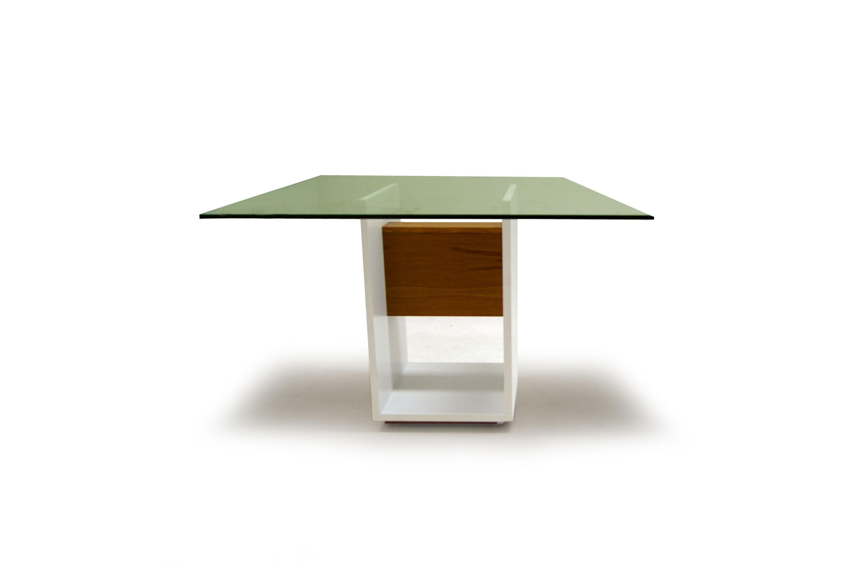 Mesa de Jantar 4 Lugares com Vidro, Branca, Nord