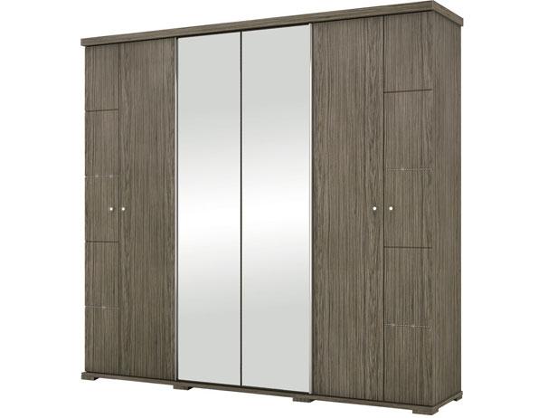 Armário 6 Portas com Espelho Central, Malbec, Toscana II