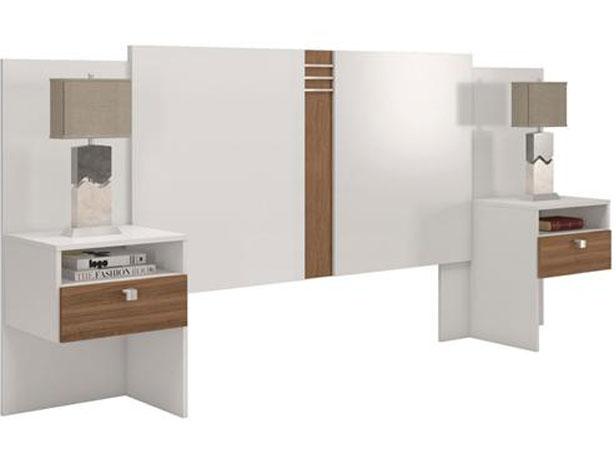 Cabeceira Casal 2 Criados, Extensível, Branco/Canela, Imagine