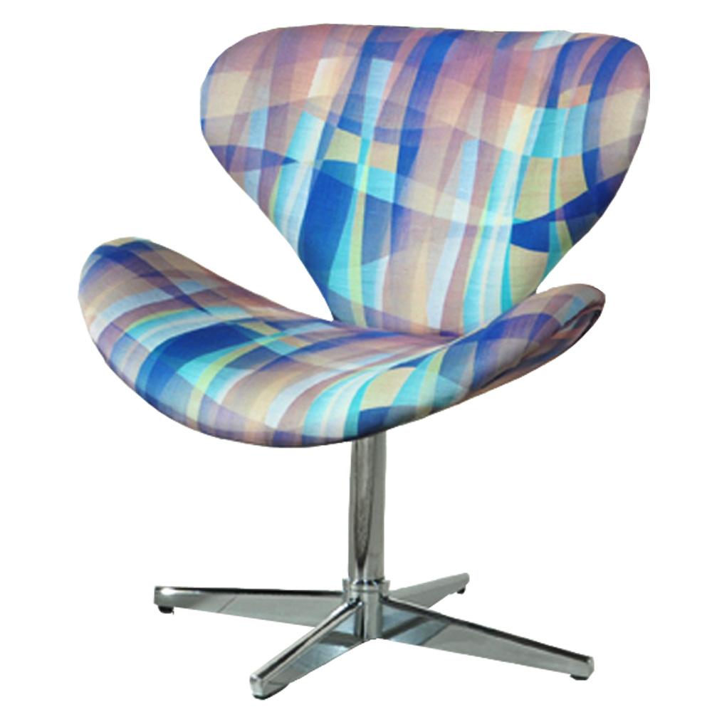 Cadeira Decorativa Giratória, Estampada, Swan