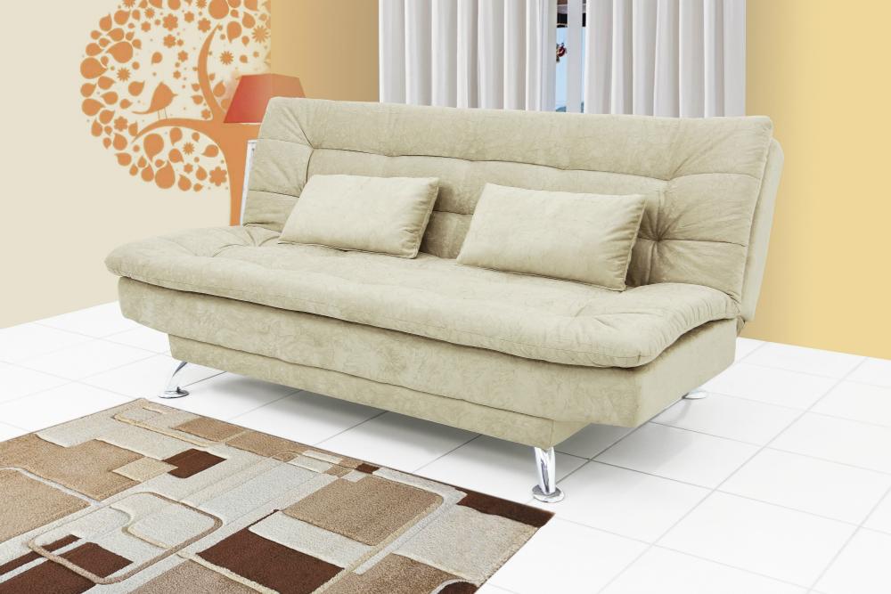 Sofá-Cama Casal, 2 almofadas decorativas, Pés Cromados, Stella