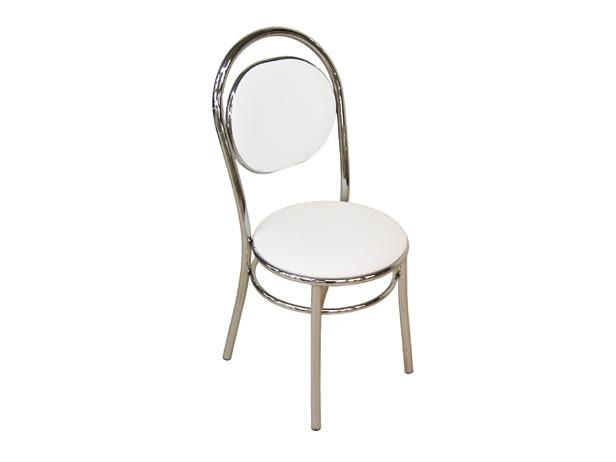 Cadeira de Copa Cromada com Assento Branco, Julie