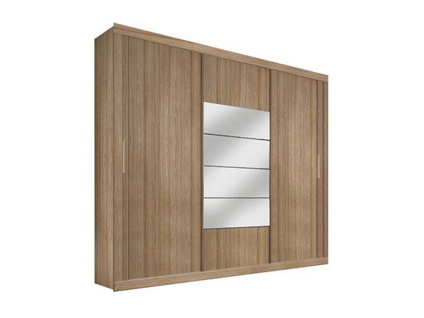 Armário 3 Portas de Correr e Espelho, Branco c/ Lanarca, Versatile